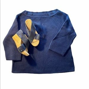 J Crew Ribbed Knit 3/4 Sleeve Sweater Navy